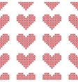 Seamless pattern with cross-stitch hearts vector image