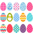set colorful easter eggs icons vector image vector image
