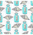 shells seamless pattern with message in a bottle vector image vector image