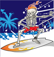 skeleton surfer on summer sea background vector image vector image