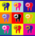 tooth sign with thumbs up symbol pop-art vector image