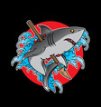 traditional shark tattoo flash vector image vector image