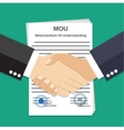 Two Businessman handshake on mou memorandum vector image
