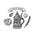 vintage set beer objects in engraving style vector image vector image