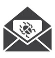 virus in email solid icon spam and security vector image vector image