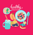 with healthy breakfast cereal granola bowl and vector image vector image