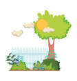 wooden fence with tree in the camp vector image
