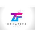 zf z f letter logo with shattered broken blue vector image vector image