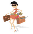 young woman holds a lot of bags camera and umbrel vector image