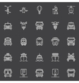 Transportation line icons vector image