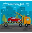 Car Assistance Roadside Assistance Car Tow Truck vector image