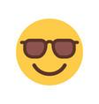 yellow smiling cartoon face in sun glasses emoji vector image