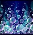 3d soap transparent bubbles background vector image