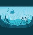 aquarium life silhouettes coral reef vector image