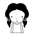 black icon cute little girl cartoon vector image vector image
