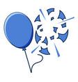 blue balloon popped on white background