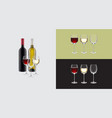 bottles and glasses wine on a colored vector image