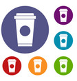 coffee in take away cup icons set vector image vector image