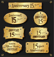 collection of anniversary retro gold labels 15 vector image vector image