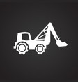 construction excavator truck on black background vector image