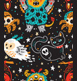 creative pattern with cartoon monster vector image vector image