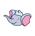 cute elephant face cartoon character on white vector image