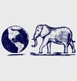 Elephant and planet vector image vector image