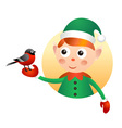 Elf with bullfinch vector image