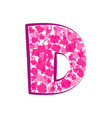 english pink letter d on a white background vector image vector image