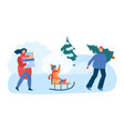 family on winter rink christmas time concept and vector image vector image