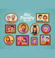family photos in frames people parents and vector image vector image