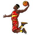 flat design basketball player dunk vector image vector image