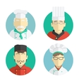 flat design chef icons vector image vector image