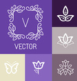 floral logos in outline style vector image