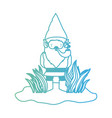 gnome coming out of the bushes with smoking pipe vector image vector image