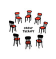 hand drawn chairs arranged vector image