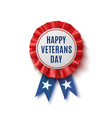 happy veterans day badge on white vector image vector image