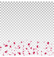 heart falling confetti isolated white transparent vector image vector image