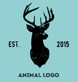 Hipster logotype with head of deer vector image vector image