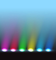 Illuminated stage with different colors lights vector image vector image
