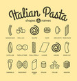 italian pasta shapes and names collection part 2 vector image vector image