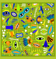 kids green bandana with monster pattern vector image vector image