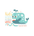 kids logo original design funny whale baby shop vector image