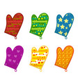 kitchen potholders mittens with different vector image