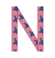 Letter N made of USA flags vector image
