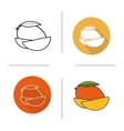 Mango flat design linear and color icons set vector image vector image