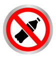 Not to throw plastic bottles sign vector image vector image