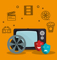 old tv with cinema icons vector image vector image