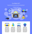 page with car wash flat icons vector image
