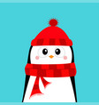 penguin wearing red hat and scarf merry christmas vector image